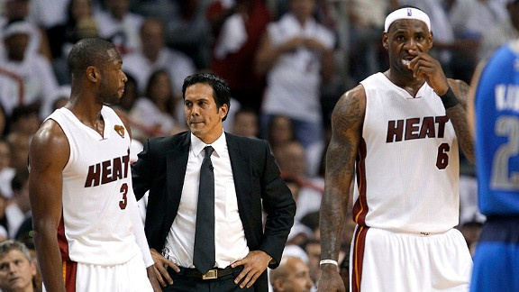 Dwyane Wade, Erik Spoelstra and LeBron James