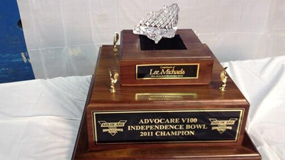 Independence Bowl trophy broken