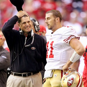 Jim Harbaugh and Alex Smith in 2011 with the 49ers