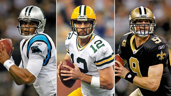 Cam Newton, Aaron Rodgers and Drew Brees