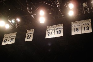 The jerseys of Old Dominion stars Anne Donovan, Ticha Penicheiro and Nancy Lieberman bear witness to the glory days of the school's basketball program.