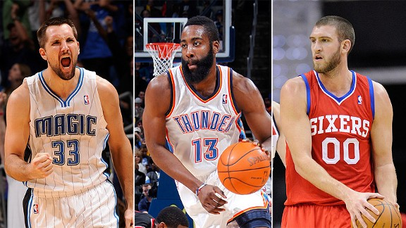 Ryan Anderson, James Harden and Spencer Hawes