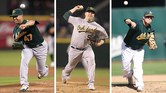 Gio Gonzalez, Trevor Cahill and Andrew Bailey