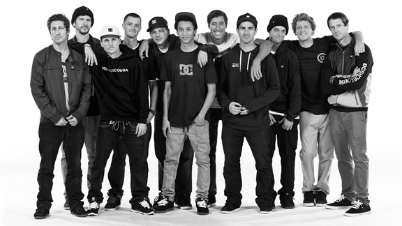 The DC Shoes team for 2012, with recent additions Nyjah Huston and Mike Mo Capaldi.