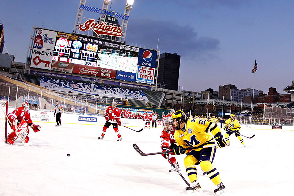 CCHA: No. 15 Michigan Wolverines Cool No. 2Ohio State Buckeyes In Hockey Game At Progressive Field