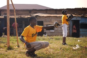 A Ugandan little-league baseball player