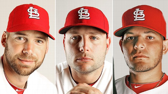 Chirs Carpenter, Yadier Molina, and Matt Holliday