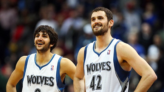 Hopefully Ricky Rubio and the Minnesota Timberwolves can keep Kevin Love smiling when their 2012-13 season ends.