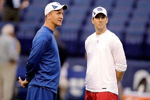 Peyton Manning of the Indianapolis Colts & Eli Manning of the New York Giants
