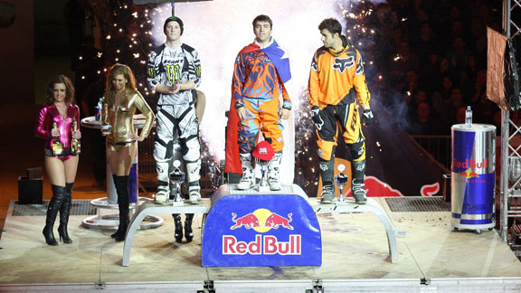 Chilean rider Javier Villegas tops the podium in Linz, Austria on Friday ahead of French rider Remi Bizouard (left) and Spanish rider Jose Miralles (right) to take an early lead in the 2012 UEM Freestyle MX European Championships.