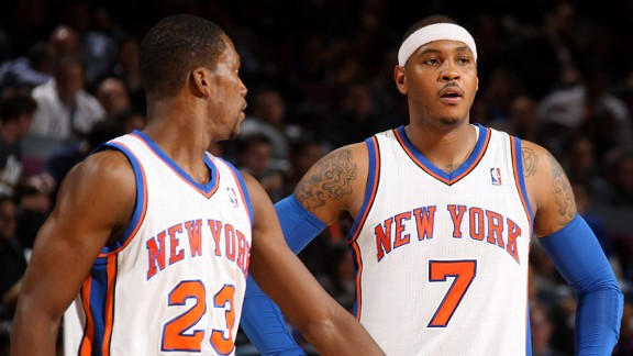 Toney Douglas and Carmelo Anthony