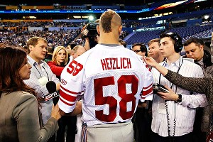 Mark Herzlich was in demand at Super Bowl media day on Tuesday.