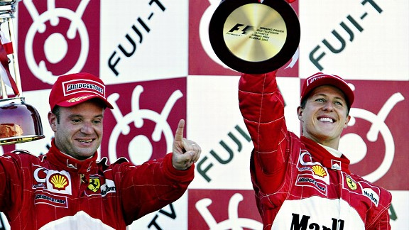 Rubens Barrichello and Michael Schumacher