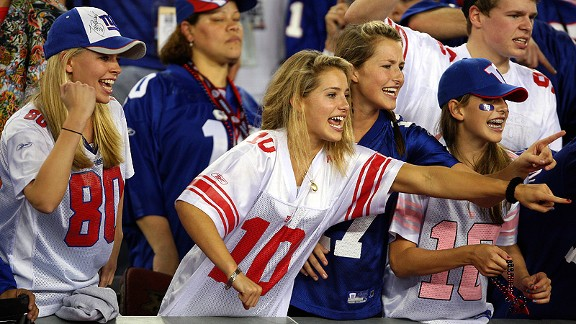 Female fans of the Giants hope this Super Bowl against the Patriots will go as well as the last.