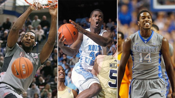 Andre Drummond, Harrison Barnes and Michael Kidd-Gilchrist