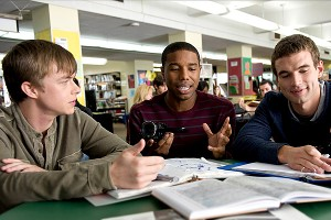 Michael B. Jordan (center) in the movie
