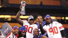 Jason Pierre-Paul and the Giants edged the Patriots 21-17 to win Super Bowl XLVI.