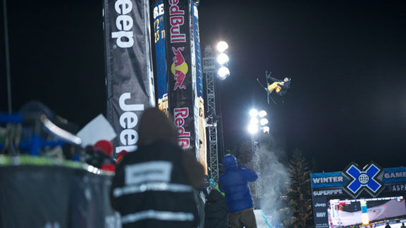 Justin Dorey during Men's Ski Pipe Eliminations at Winter X Games 2012.