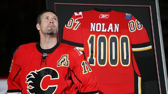 Owen Nolan, 1000th game, Calgary Flames