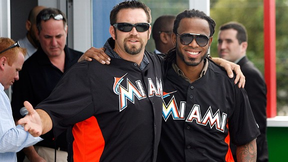 Marlins Heath Bell and Jose Reyes