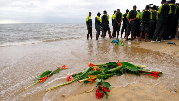 Zambia's soccer team pay their respects