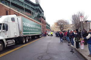 Red Sox truck with waiting fans.