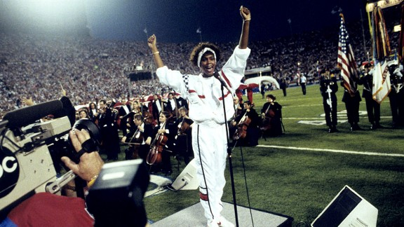 Whitney Houston sang an unforgettable rendition of the national anthem before Super Bowl XXV.