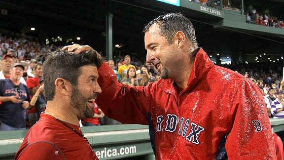 Tim Wakefield and Jason Varitek