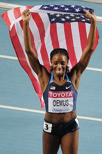 Lashinda Demus wins the 400-meter hurdles at the world championships in Daegu, South Korea, last September. Demus has learned to juggle being a world-class athlete and raising two young boys.