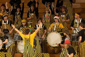 The zany Michigan Tech pep band is known for its bumblebee-like outfits, distinctive headgear and mystifying chants using calculus terms.