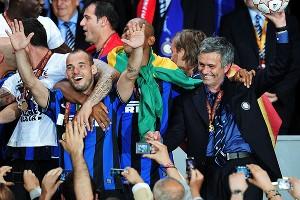 Jose Mourinho and Wesley Sneijder