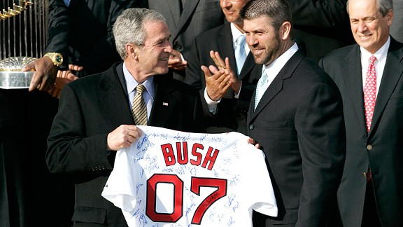 Jason Varitek and George Bush