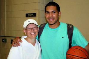 Jordan Hicks with his mother