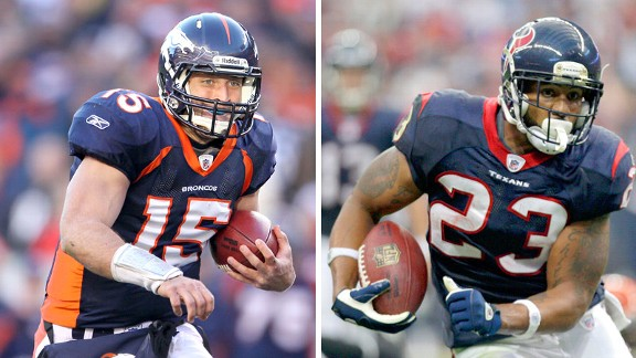 Tim Tebow and Arian Foster