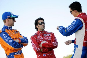 Charlie Kimball, Dario Franchitti and Graham Rahal