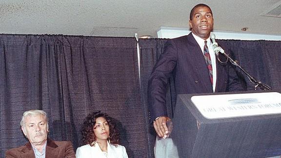 Magic Johnson in 1991 at his press conference