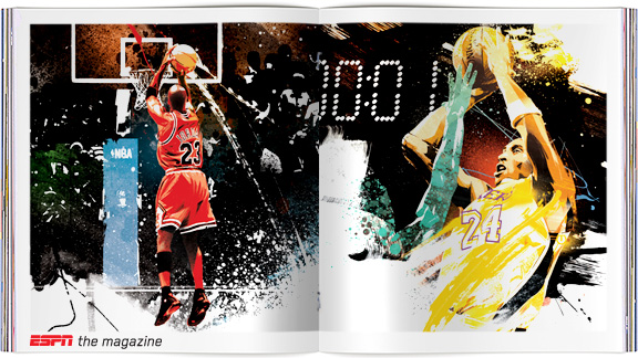 Michael Jordan and Kobe Bryant illustrated by Tes One
