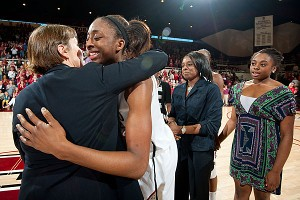 On Stanford's senior night, coach Tara VanDerveer shows her appreciation for Nneka Ogwumike, who said she's been too busy to get nostalgic.