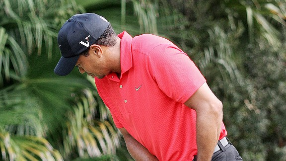 Tiger Woods grimaces