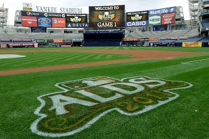Yankee Stadium with the ALDS logo