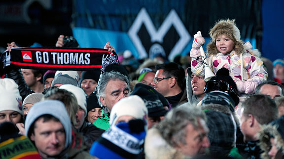In the Men's Ski SuperPipe finals, the crowd seemed to cheer the loudest for Thomas Krief, who was one of two Frenchmen in the final. He earned a silver medal.