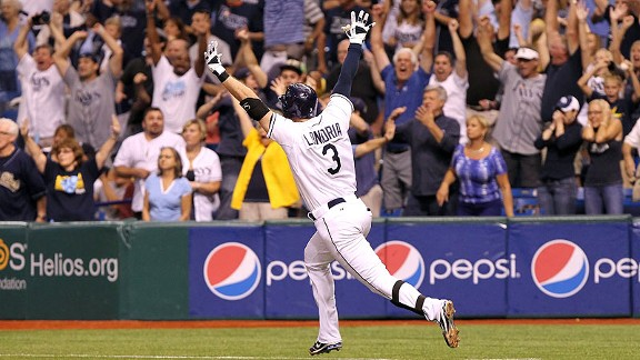 Evan Longoria after hitting a home run to make the playoffs in 2011