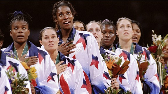Leslie (third from left) and the U.S. team went 8-0 at the Atlanta Olympics to win women's basketball gold.
