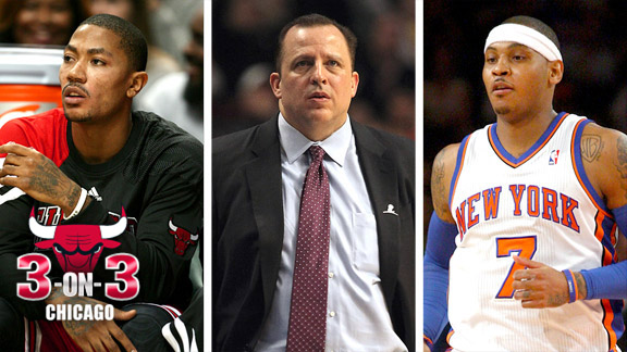 Derrick Rose, Tom Thibodeau and Carmelo Anthony