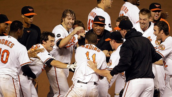 Orioles celebrate beating the Red Sox in 2011