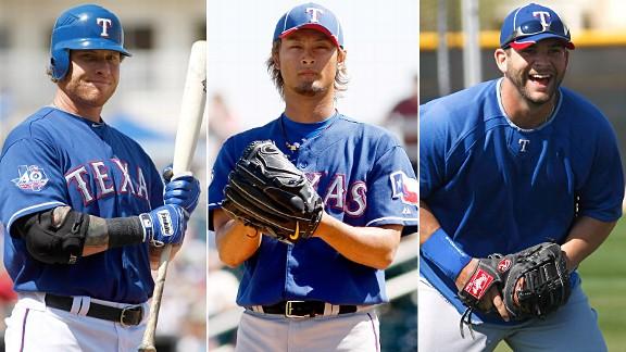 Josh Hamilton, Yu Darvish & Mitch Moreland