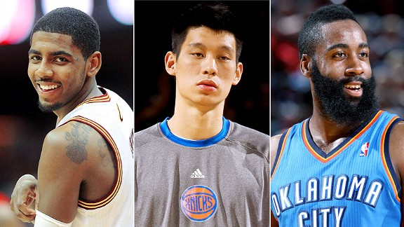 Kyrie Irving, Jeremy Lin and James Harden