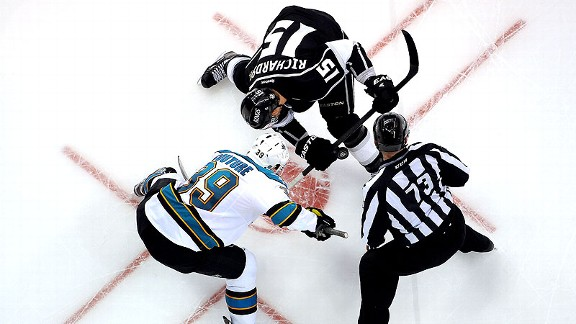 Logan Couture of the San Jose Sharks and Brad Richardson of the Los Angeles Kings