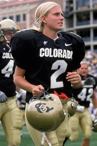 Kicker Katie Hnida came forward about abuse she received as a player at Colorado, and has continued to speak about violence against women.