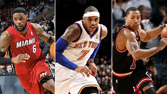 LeBron James, Carmelo Anthony and Derrick Rose